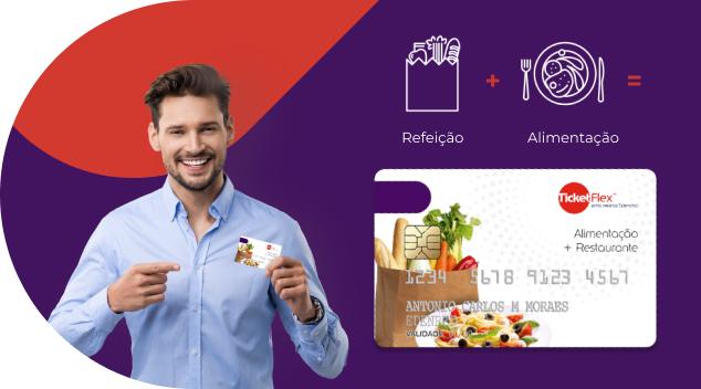 Icone Ticket Flex: o novo cartão 2 em 1 da Ticket. Mais uma opção de pagamento na carteira dos seus clientes.
